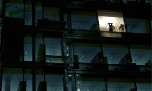 A man in an office at night